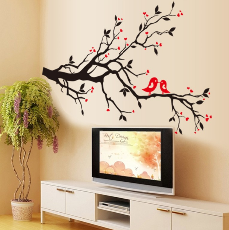 Room stickers vinyl home mural paper tree branch bird diy for Diy tree wall mural