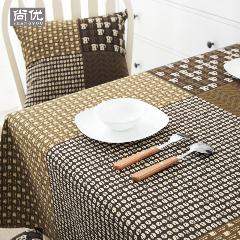 Coffee Cotton Tablecloth Table Cover Fabric Square Restaurant Rectangle Hotel Ebay
