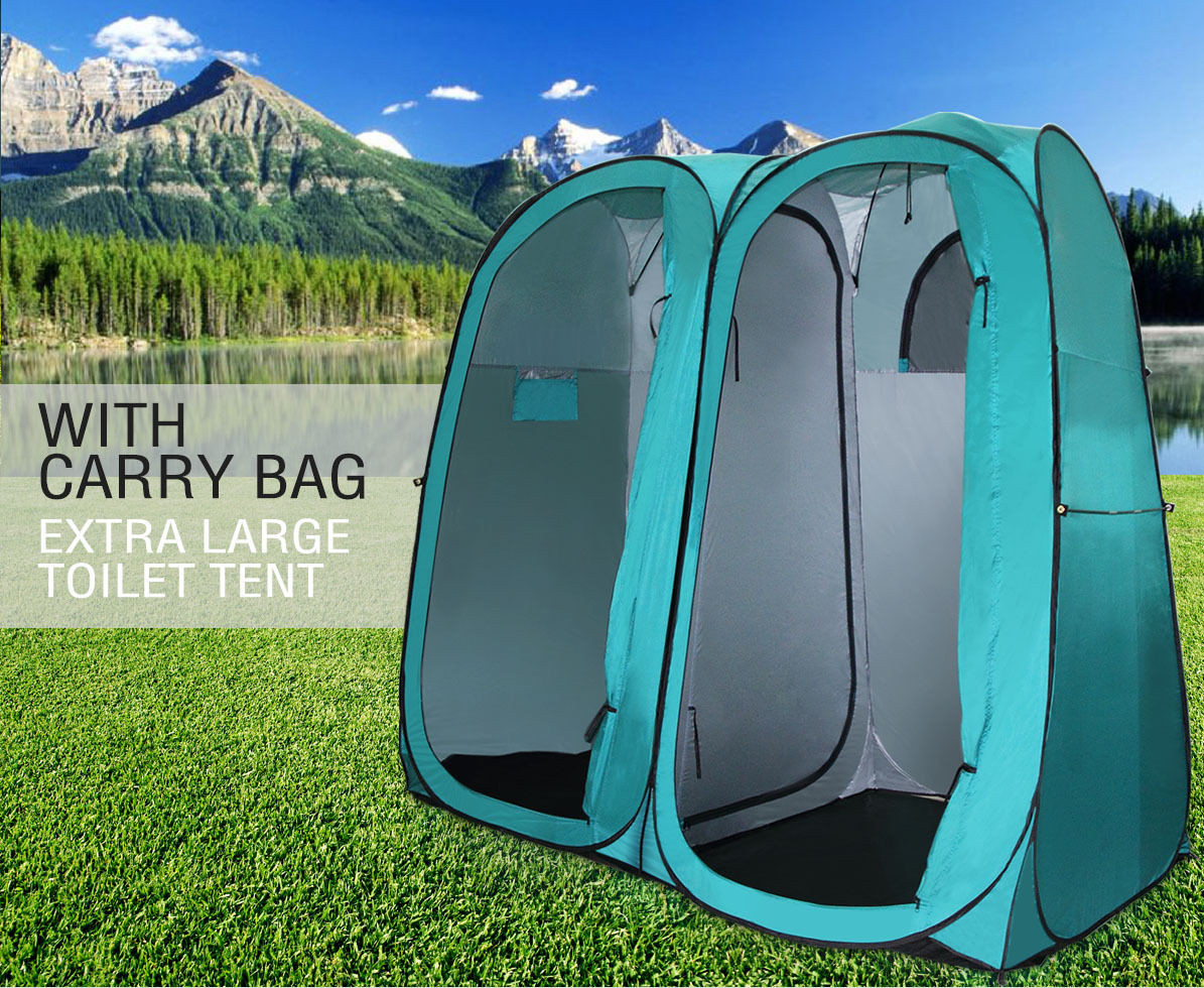 Portable Twin Duo Pop Up Outdoor Camping Shower Tent