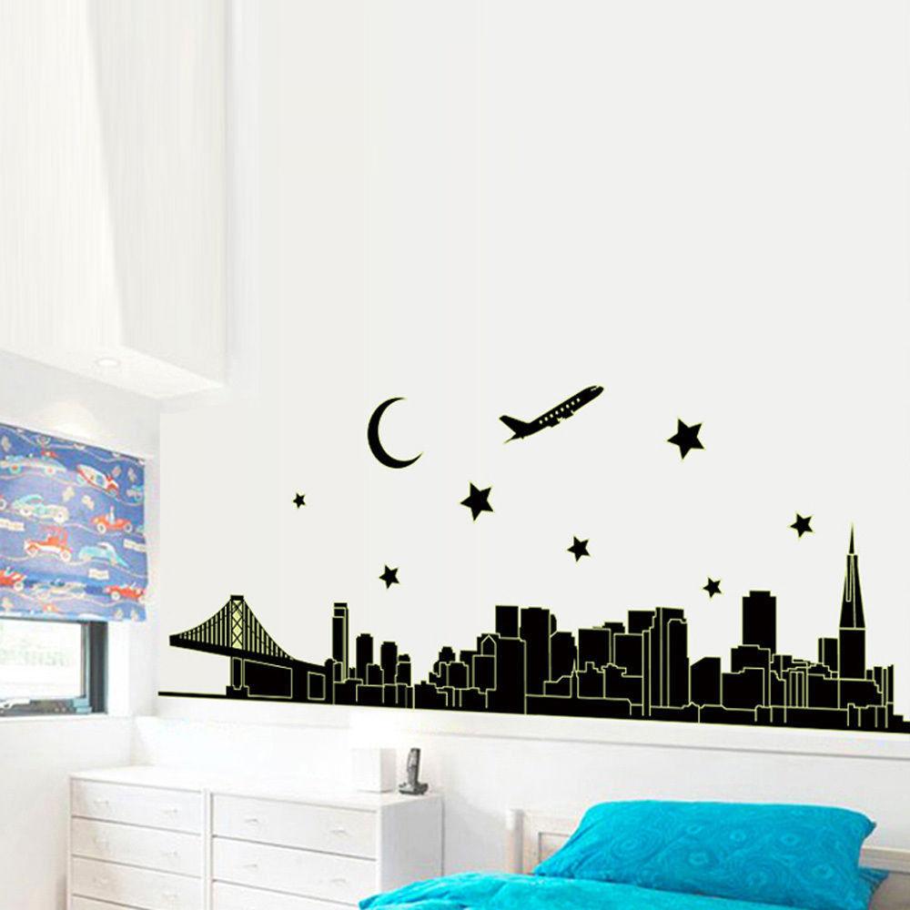 New York Skyline City Night Glow In The Dark Removable Wall Sticker Decal Art
