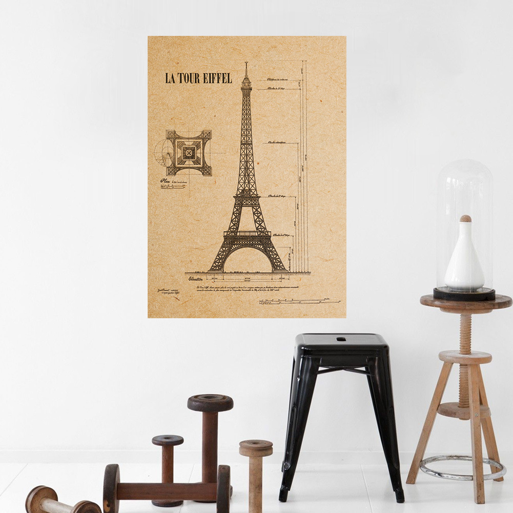 Paris eiffel tower wall poster kraft paper art home decor for Eiffel tower decorations for the home
