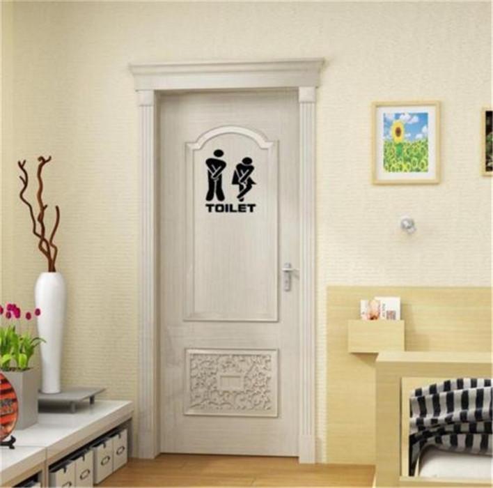 wall sticker funny toliet bathroom door decals washroom vinyl