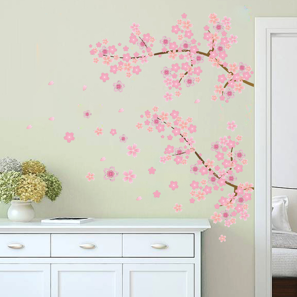 Pink flowers removable vinyl decal wall sticker mural diy for Diy photo wall mural