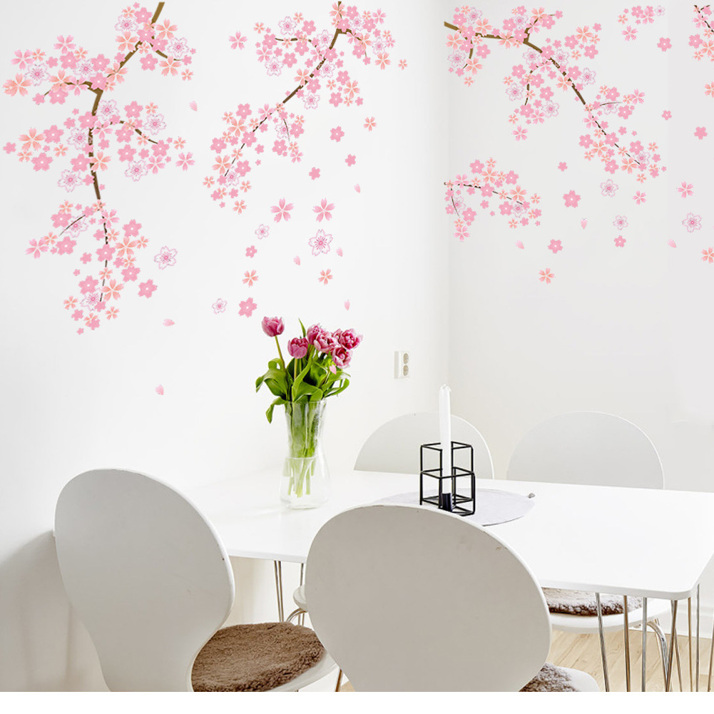 Pink flowers removable vinyl decal wall sticker mural diy - Stickers para decorar paredes ...