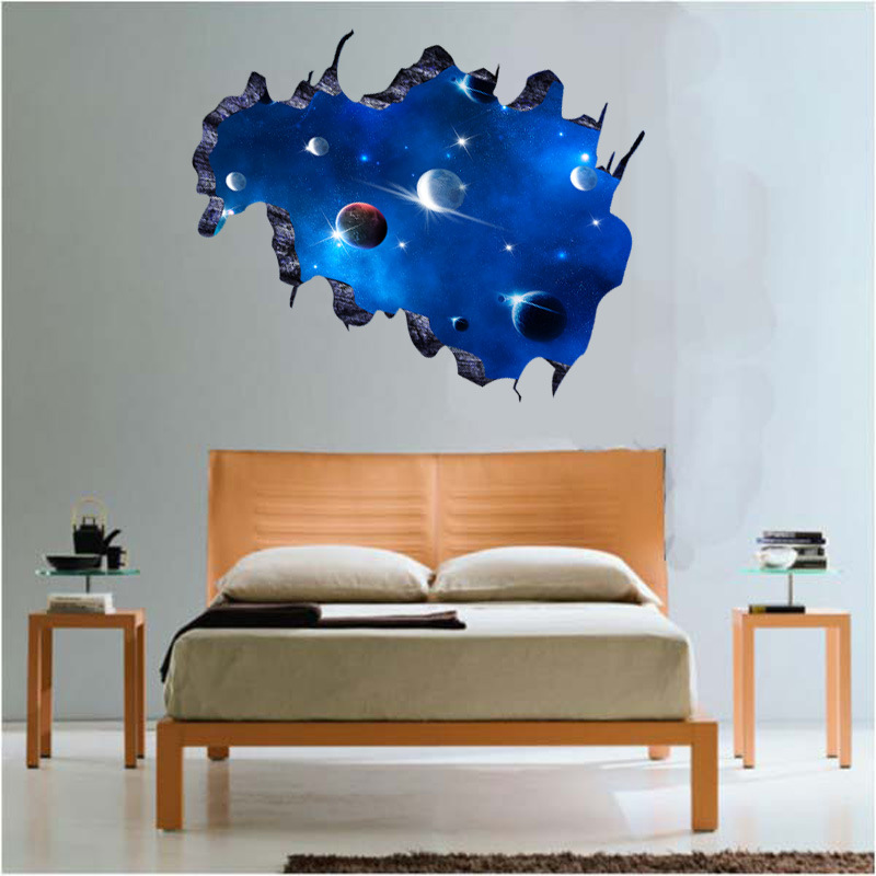 3D Removable Galaxy Wall Sticker Decals Blue Outer Space Vinyl Art ...