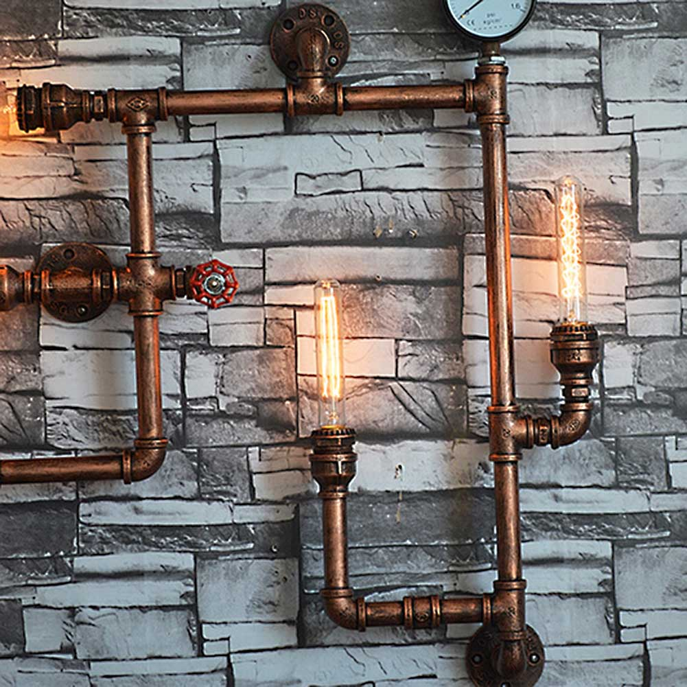 industrial steampunk wall lamp fixture light rustic vintage pipe fitting 5 head ebay. Black Bedroom Furniture Sets. Home Design Ideas