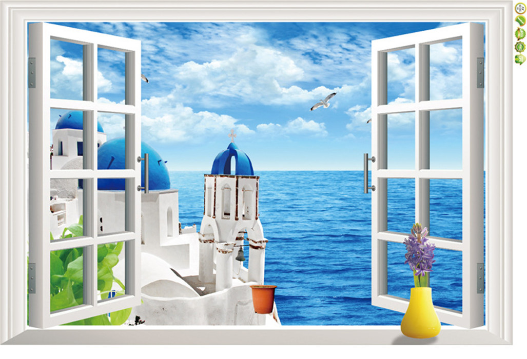 3d ocean beach flower window wall sticker decals room for Beach wall mural sticker