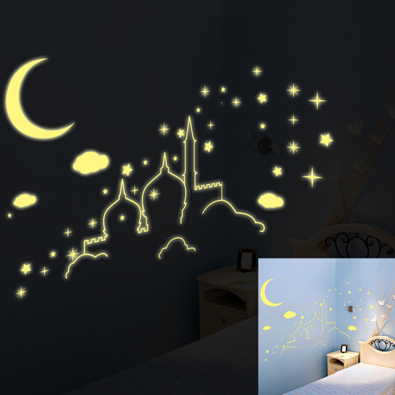moon castle light green baby kid wall sticker glow in the clair de lune glow in the dark medium moon wall sticker pack