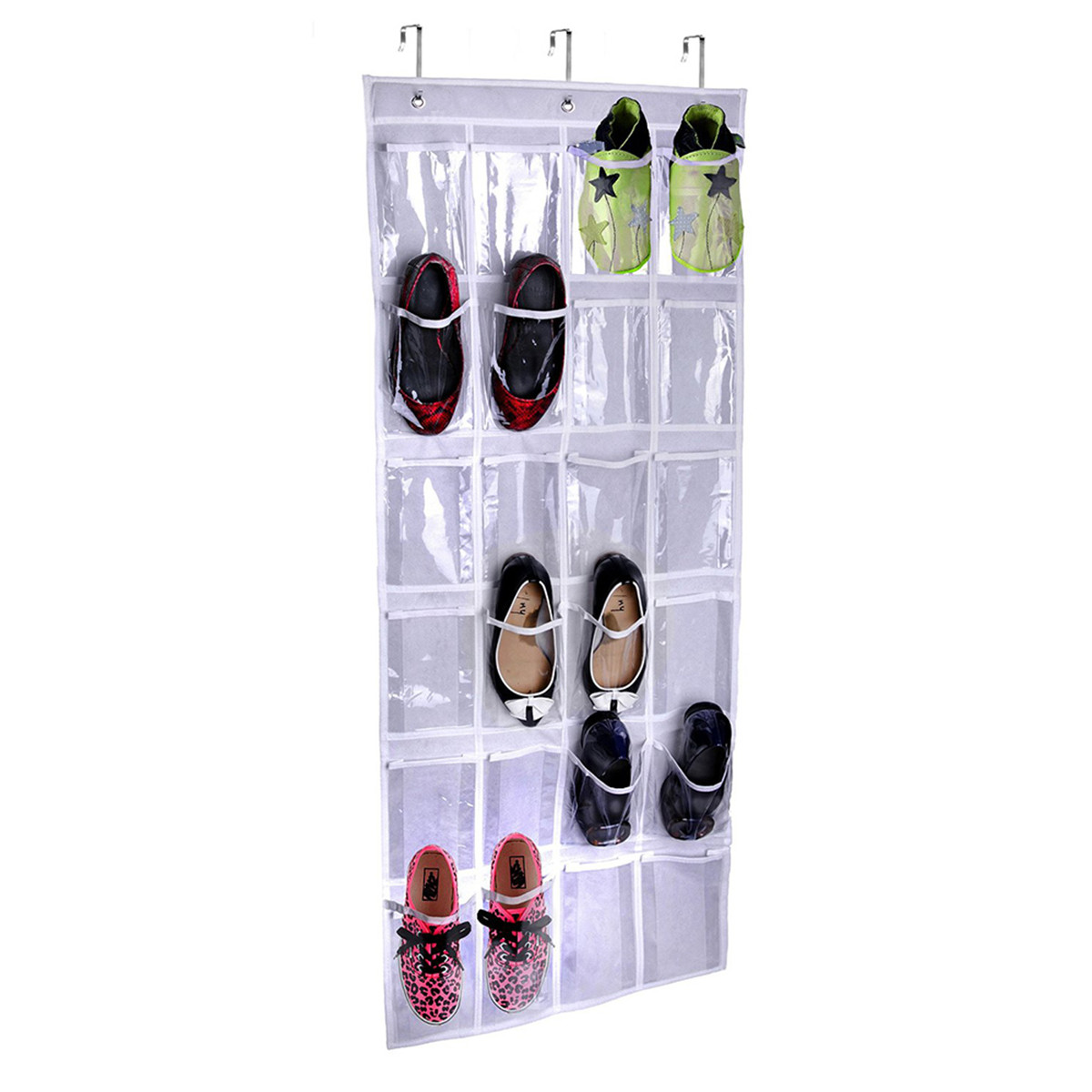 Whitmor over the door shoe organizer white crystal clear for Door shoe organizer