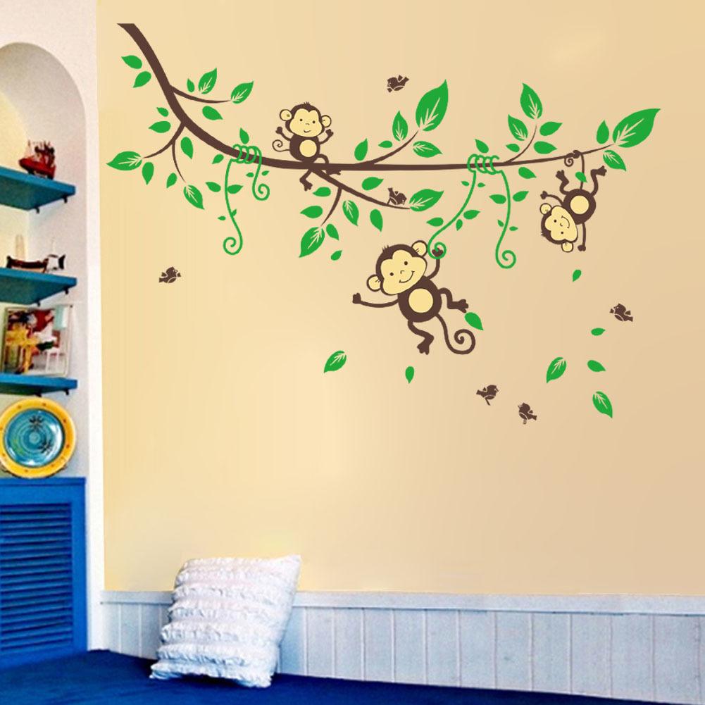 Jungle Monkey Tree Wall Sticker Kid Nursery DIY Art Vinyl Decor ...