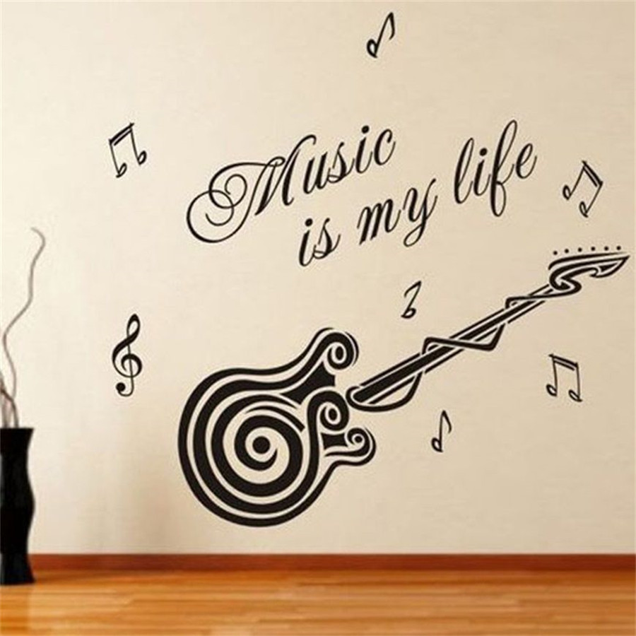 Life Wall Quotes Music Is My Life Swirl Guitar Wall Quotes Decals Stickers Decor