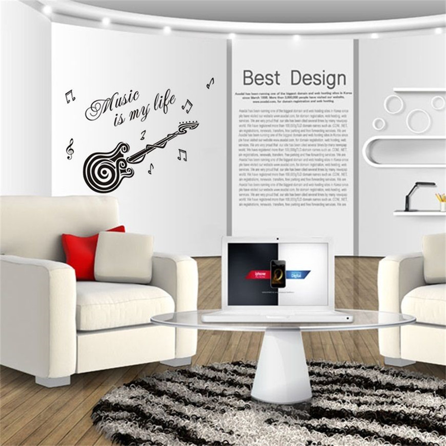 Music Is My Life Swirl Guitar Wall Quotes Decals Stickers Decor Vinyl Home  Art