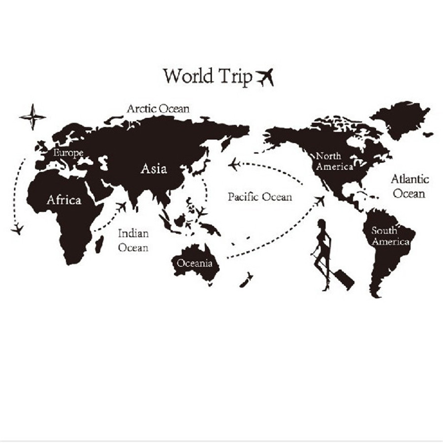 World trip travel map art vinyl wall stickers decal home decor world trip travel map art vinyl wall stickers decal home decor wallpaper mural gumiabroncs Image collections