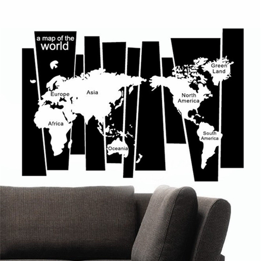 Removable art craft vinyl world map wall sticker diy decal home room image spell blackwhite world map product size165 x 60cm transfer film size 142 x 60cm note the size of the transfer film is not the same with wall gumiabroncs Image collections
