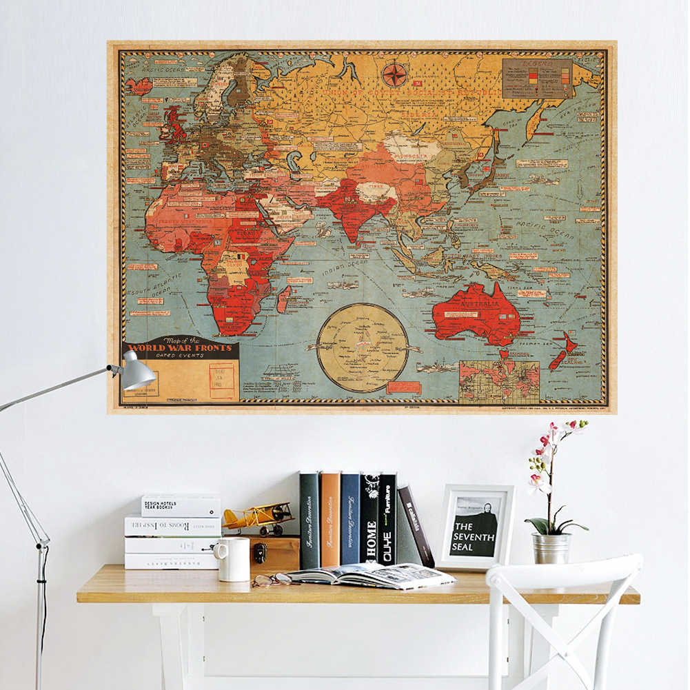 Vintage Map Of The World Wall Poster Decor Poster Antique World Map - Cheap vintage maps