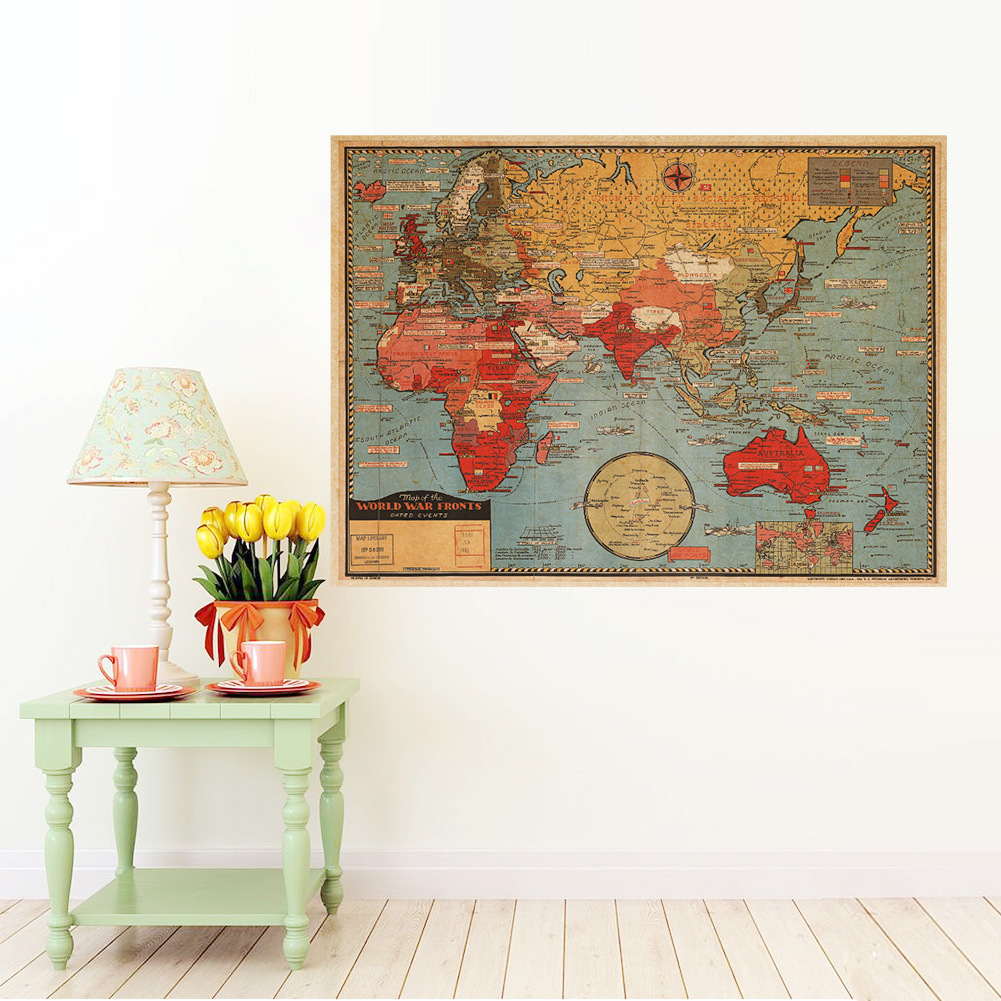 Removable retro world map wall poster living room bedroom for Wall poster for living room