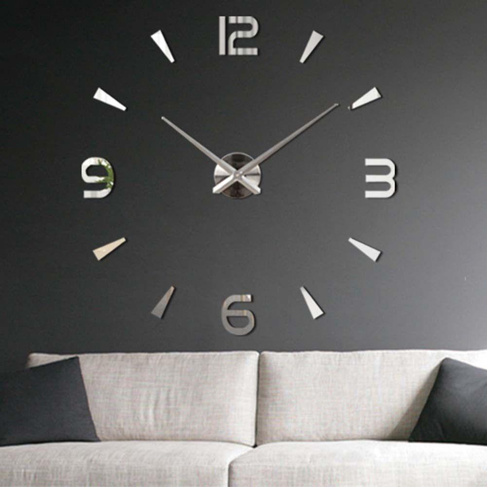 Fashion Modern Diy 3d Large Wall Clock Mirror Surface