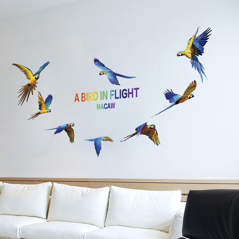 wall sticker a bird in flight macaw art vinyl home decor decal mural diy. Black Bedroom Furniture Sets. Home Design Ideas