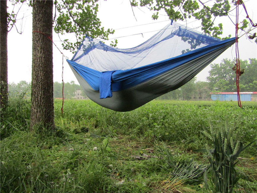Outdoor sleeping hanging bed parachute hammock mosquito for Net hammock bed