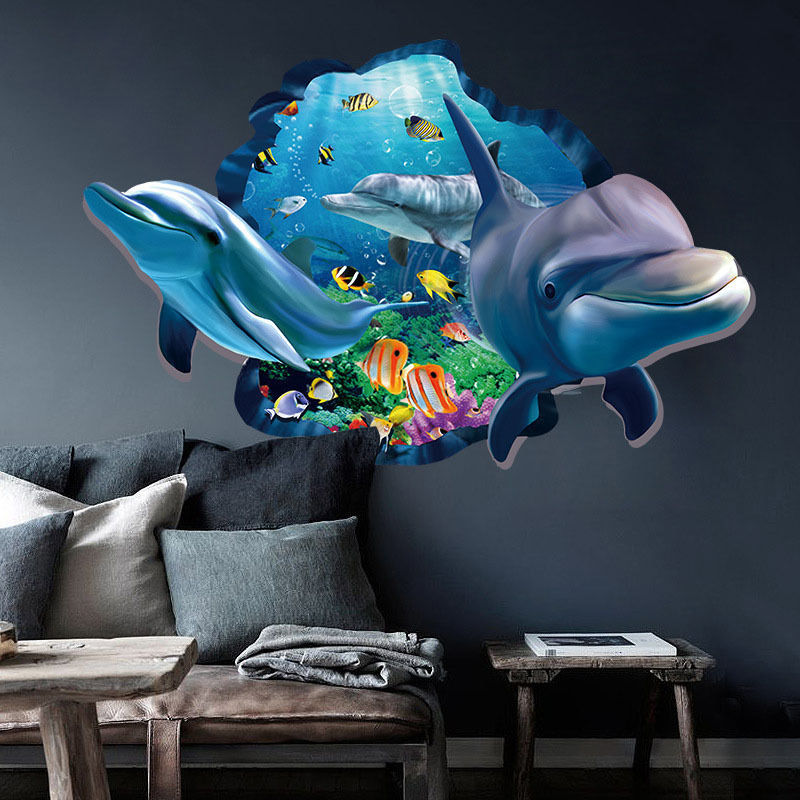 3d art wall sticker ocean dolphin removable vinyl decal for Dolphin wall mural