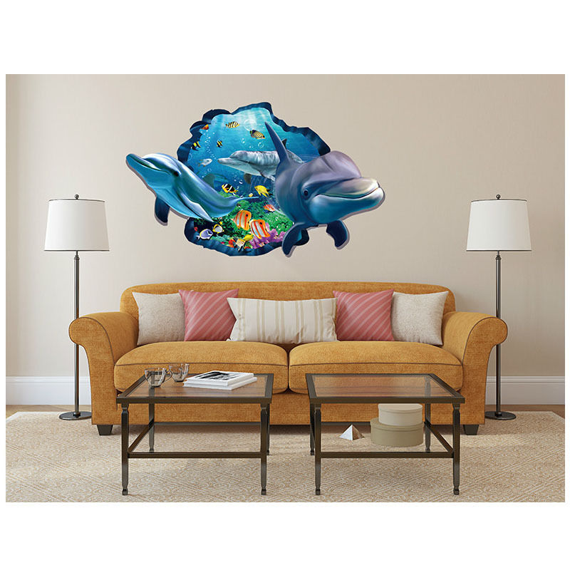 3d art wall sticker ocean dolphin removable vinyl decal mural room decor new - Decor mural original ...
