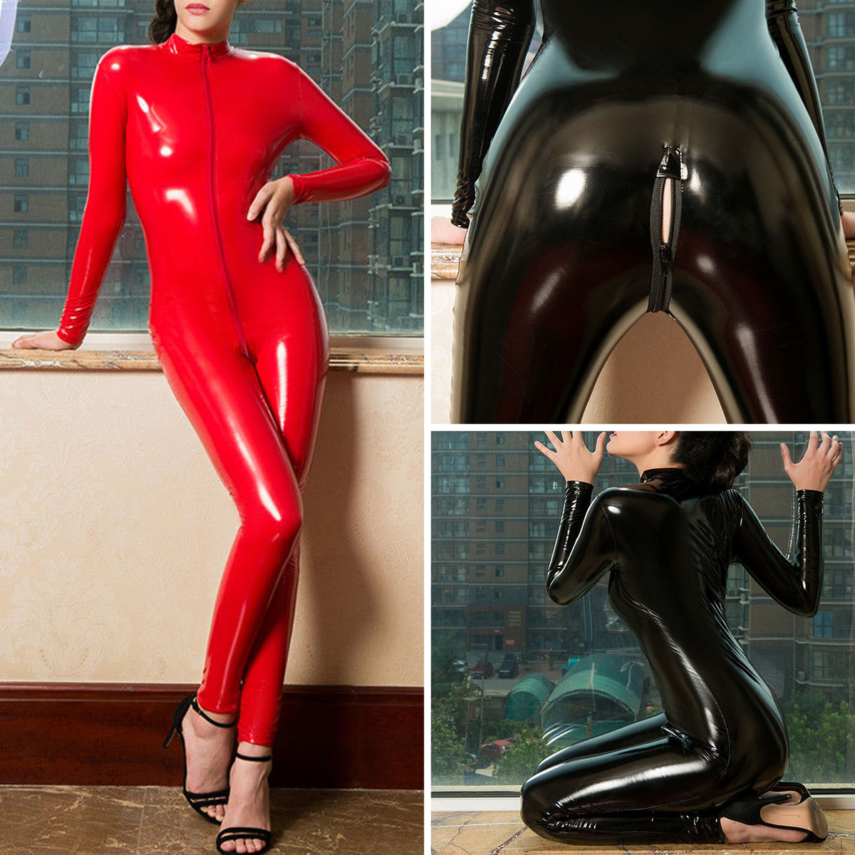 2e294ef469f Latex Leather Shiny Glossy Bodysuit Zipper Open Crotch Catsuit Jumpsuit  Lingerie