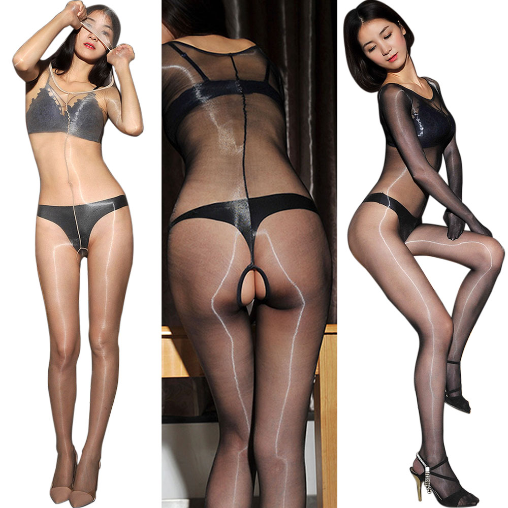 156e8bec458 Ultra-thin 1D Shiny Glossy Bodysuit See Through Bodystocking Long Sleeve  Tights