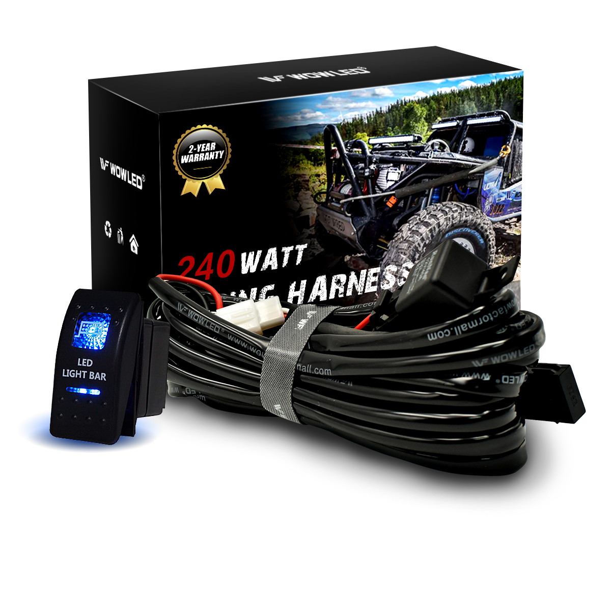 Waterproof Led Light Bar Rocker Switch Illuminated Relay Car Blue Red Wiring Harness With 40a Backlit Kit