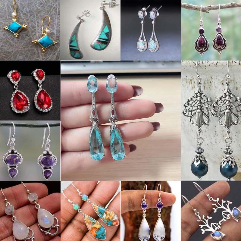 18K Gold Filled Blue Mystic Topaz Gemstone long Dangle Boucles d/'oreilles pour femmes