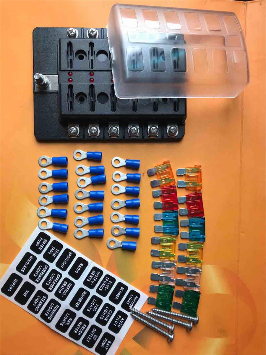12 Way Blade Fuse Box Holder Car Blades Terminal Connectors Screw In Parts Stickers Screws