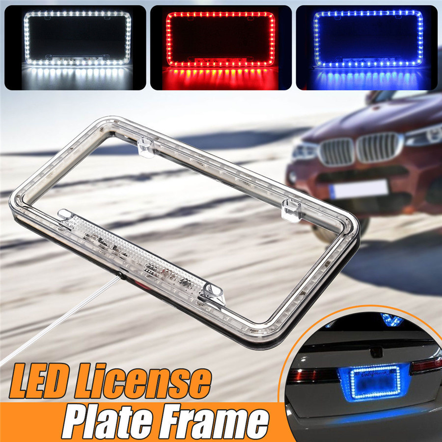 12V Acrylic Plastic Lighted License Plate Frame Blue LED Lighting ...