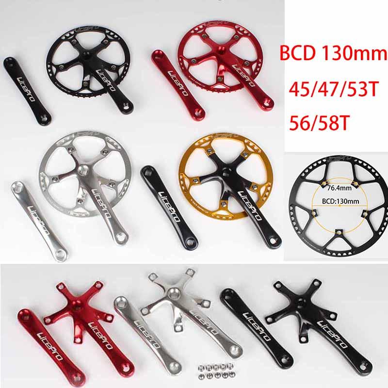 Aluminum MTB Road Bike Crank Arms 170mm Crankset Chainring 45//47//53//56//58T Red