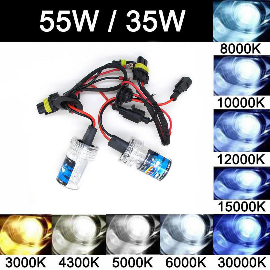 2x 55w 35w xenon hid replacement bulbs h1 h3 h7 h8 h9 h11 9005 9006 hb3 hb4 881 ebay. Black Bedroom Furniture Sets. Home Design Ideas