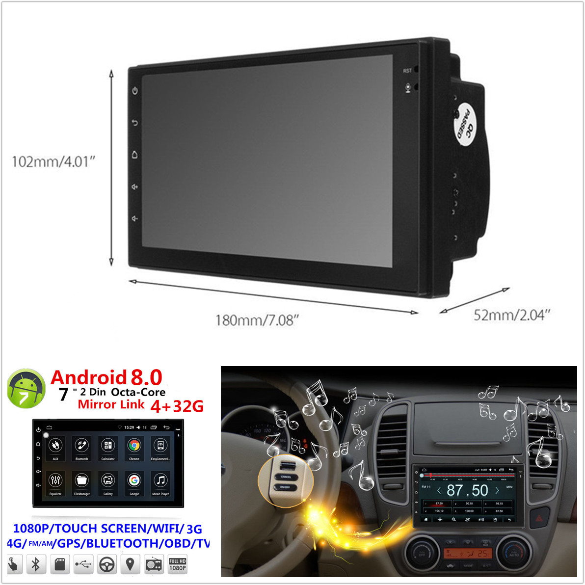 7 Android 80 2 Din Octa Core 4g 32g Car Stereo Radio Gps Wifi 3g Smartphone Venera Volt 3 Product Description