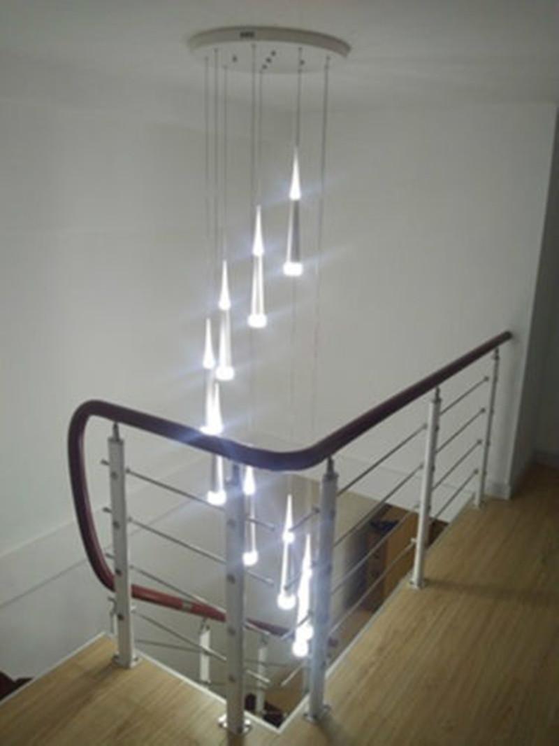 Modern Led Spiral Ceiling Light Chandelier Stairway Led