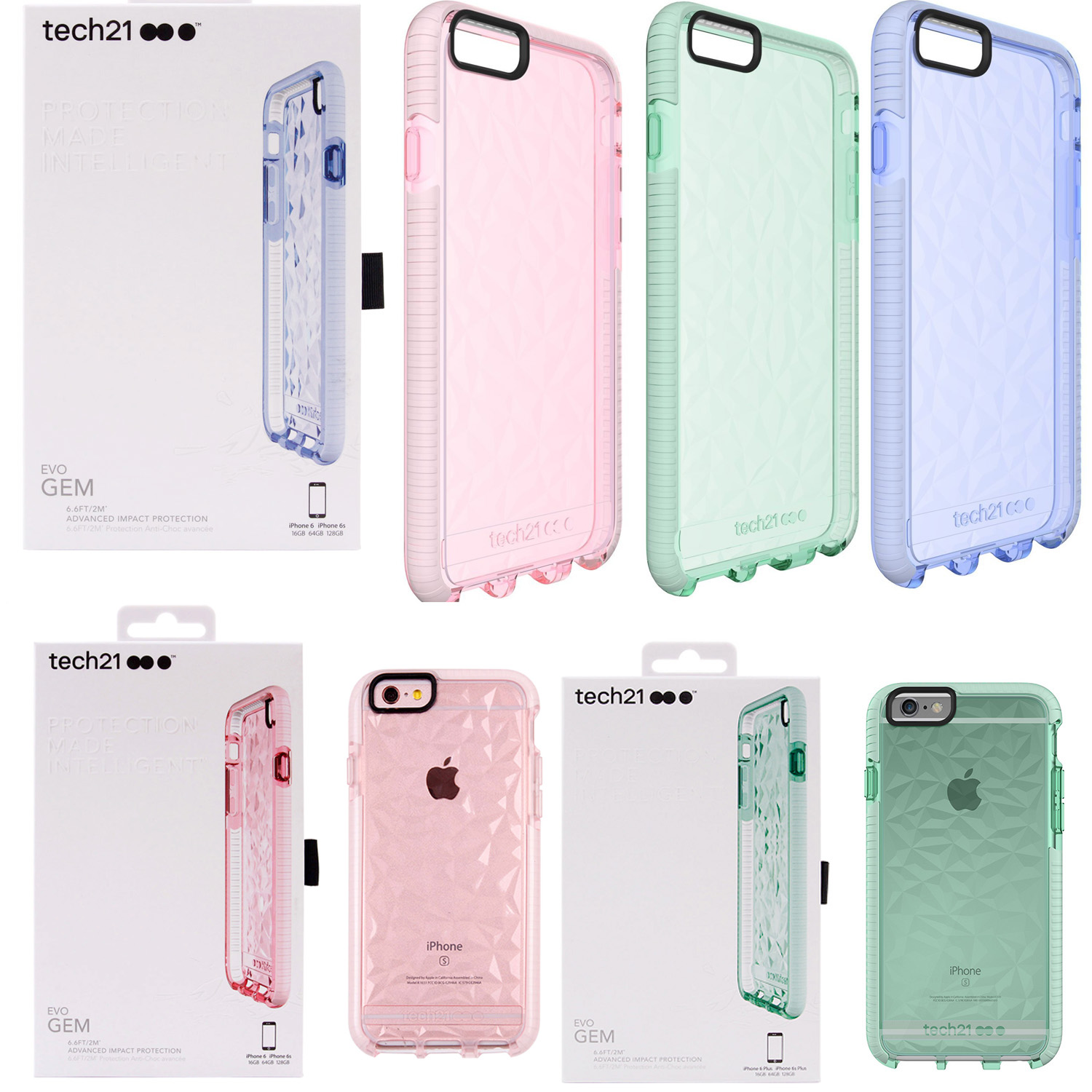 promo code 8563a 6c3f1 Details about Tech21 Evo Gem Bumper Protection Case for iPhone 6/6s, iPhone  6/6s Plus