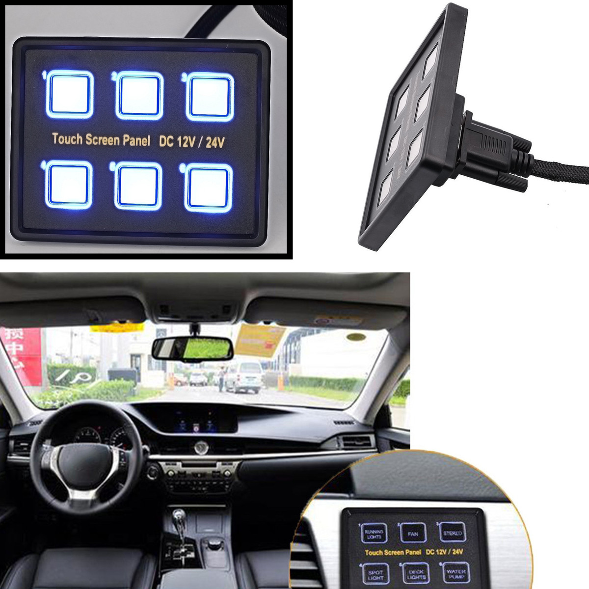 for Car RV Marine Boat Car Button Push Switch 6 Way Switches Touch Screen Multi-function Combination Switch Panel