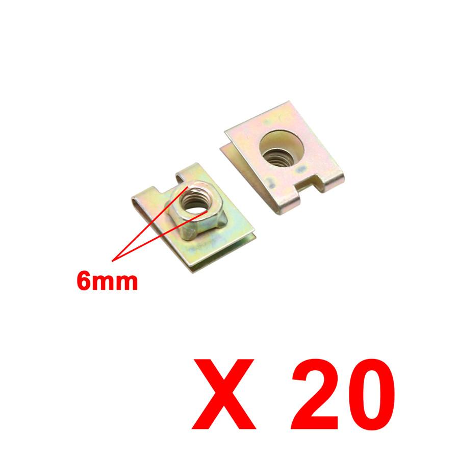 20X Metal U Shape Clips Speed Nuts Fastener Rivet M6 for Auto Car Pannel Fender