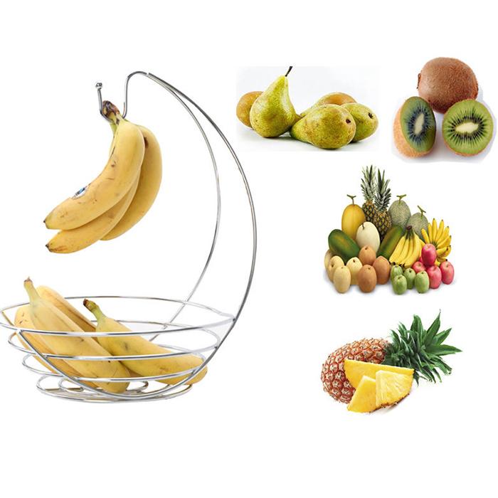 Chrome Banana Hook hanger Tree and Fruit Bowl 2 IN 1