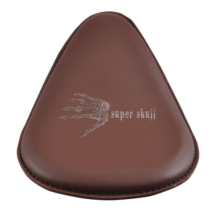 Motorcycle Brown Solo Seat Pad Leather+Bracket+Spring Sportster Bobber Universal