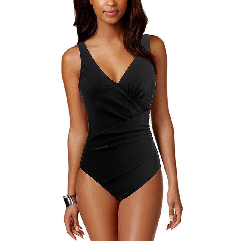 f3d21a0cf2 Details about Women One Piece Swimsuit Plain Black Swimwear V Neck Ruched  Beach Bathing Suits