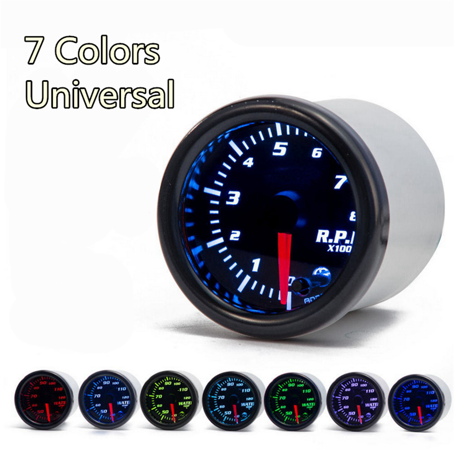 4 inches 7-Color LED Tachometer Gauge with Shift Light Carbon Look Housing