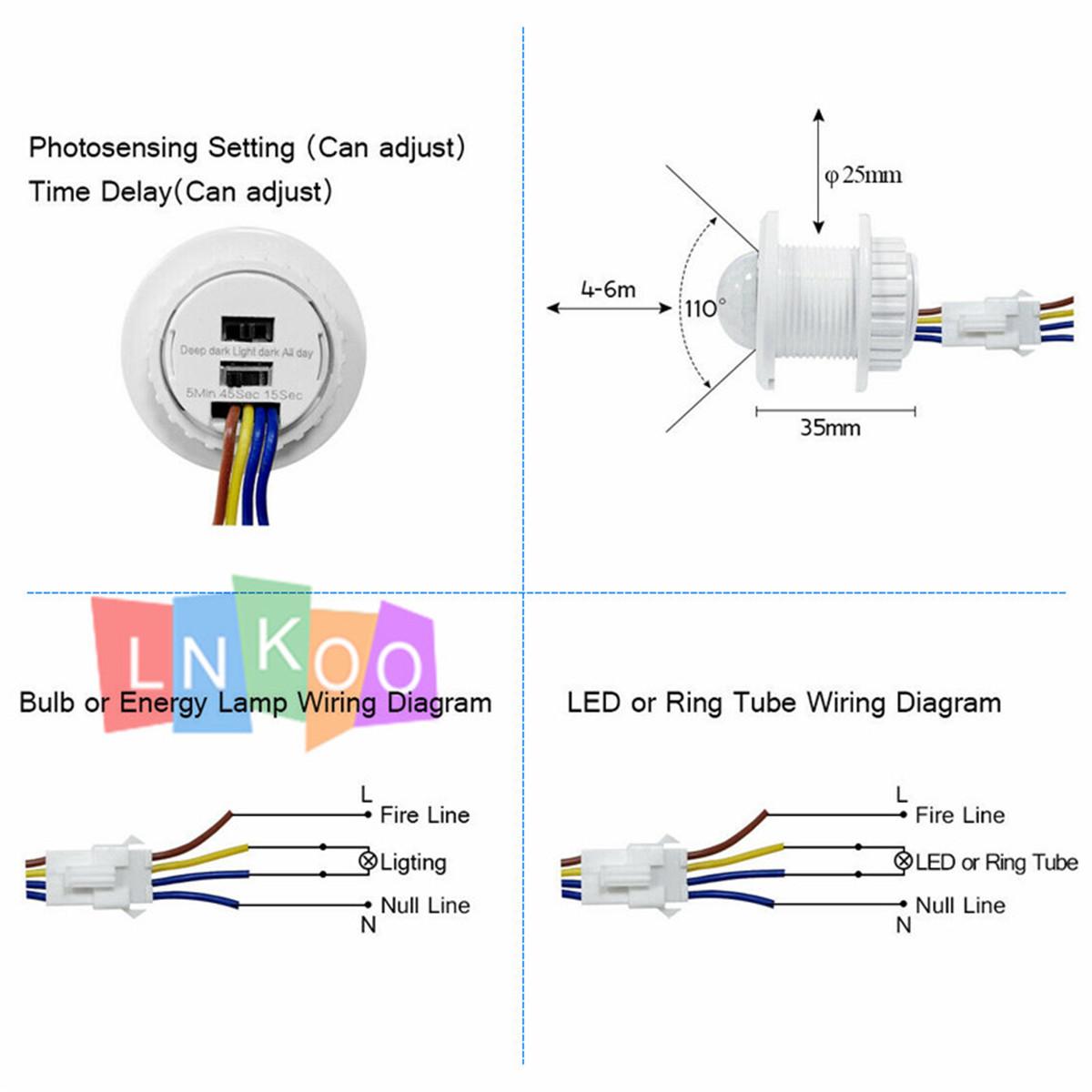 [NRIO_4796]   110/220V AC PIR Infrared Body Motion Sensor Detector Control Switch Light  Lamp | eBay | Light Sensor Wiring Diagram 110 |  | eBay