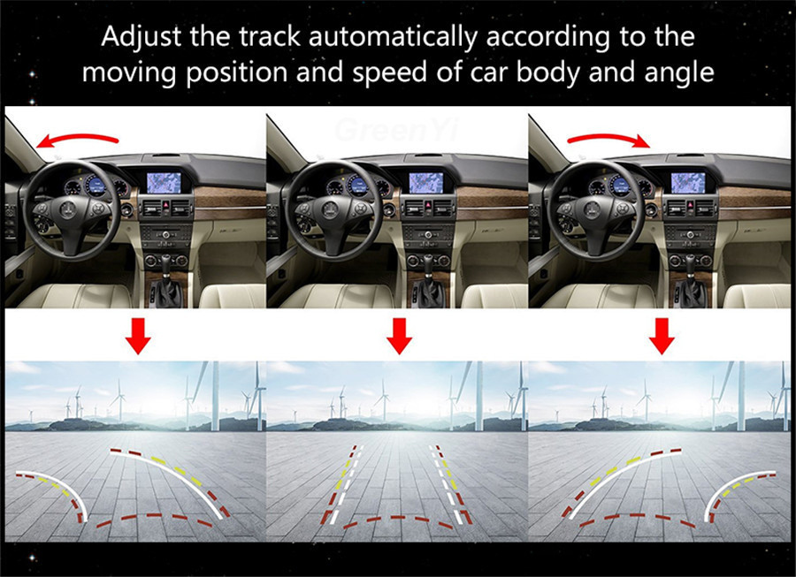 HD Car Dynamic Trajectory Moving Guide Parking Line Rear View Camera Waterproof