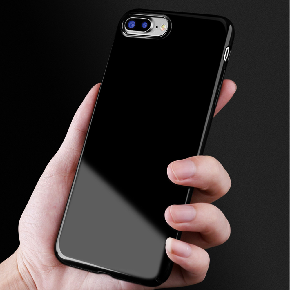 new styles 36538 5f77d Details about Ultra Thin Sleek Jet Black Full Cover Hard Plastic Back Case  for iPhone 7/6 Plus