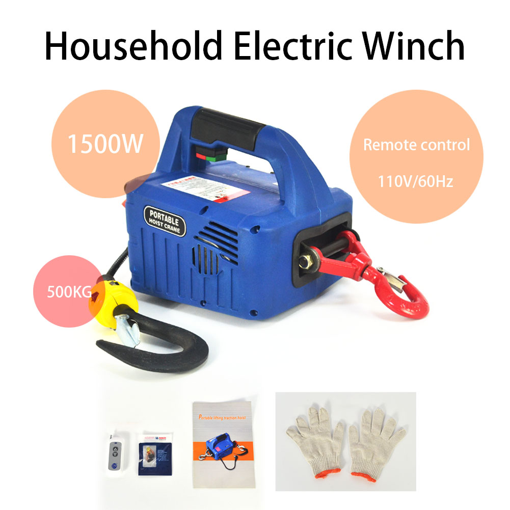Material Handling 110V Portable Household Electric Winch Manual ...