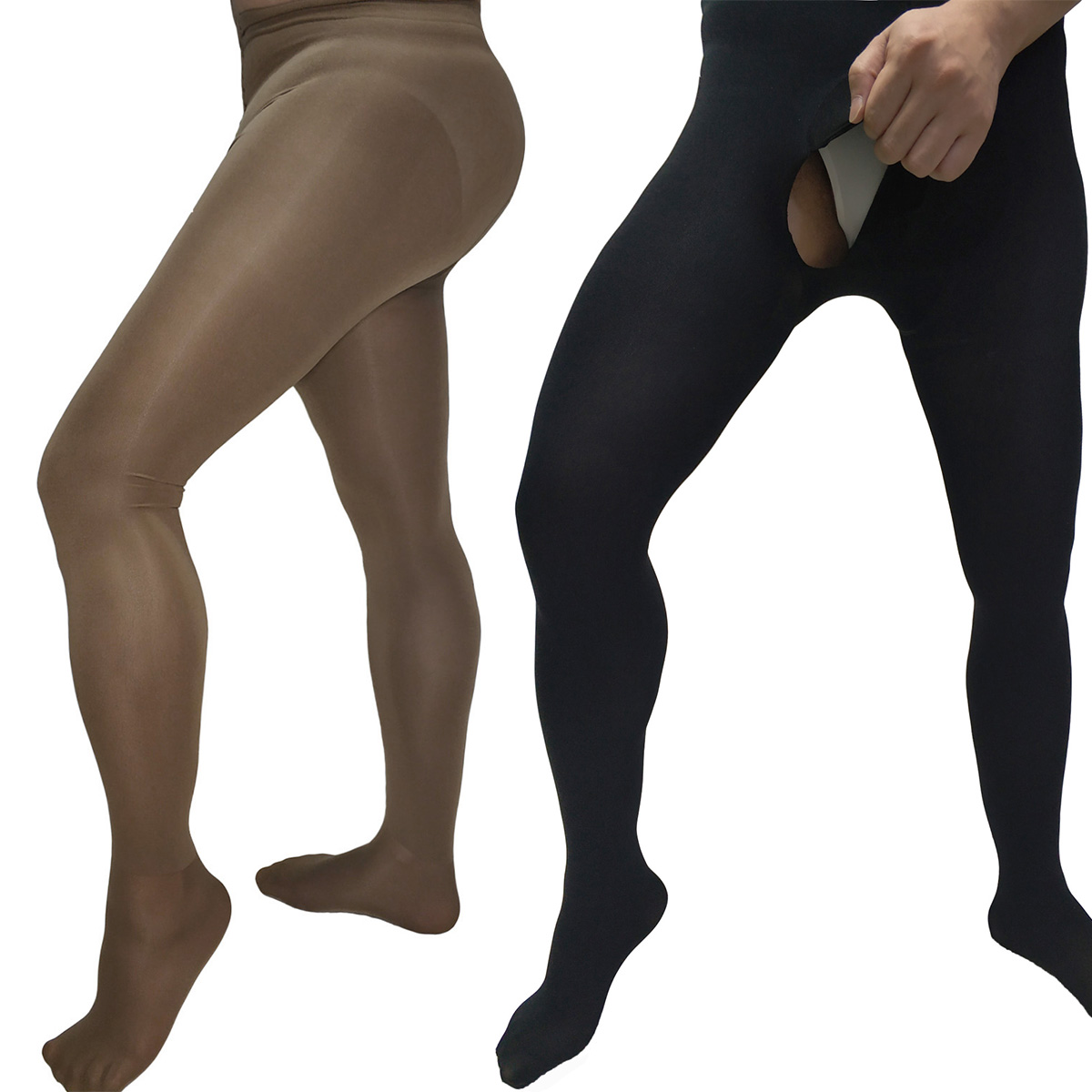 200D Men Velvet Opaque Pantyhose Winter Warm Thick Stockings Socks Footed Tights