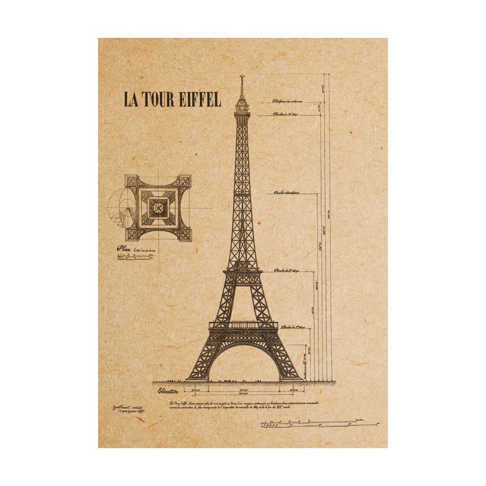 Removable Paris Eiffel Tower Kraft Paper Wall Sticker Art Home Decor ...