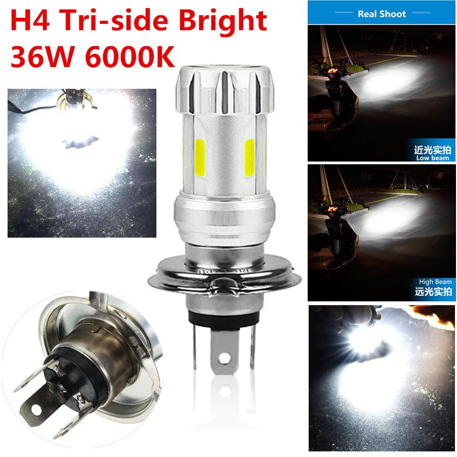 1Pcs White New H4 6000K COB Light Bulb Motorcycle Headlight Low Beam High Power