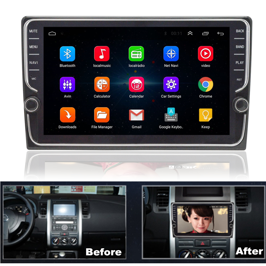 """9/"""" Car Double 2DIN GPS Radio Android 8.1 Player ROM 16GB Knob Button Wifi OBD TV"""
